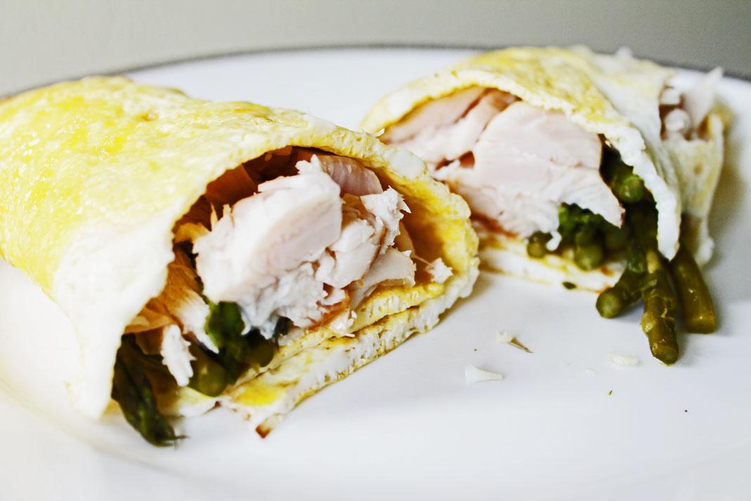 clean eating idea - egg turkey asparagus wrap 6