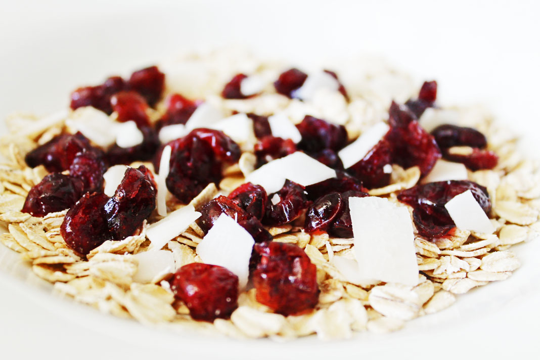 oats craisins and coconut flakes