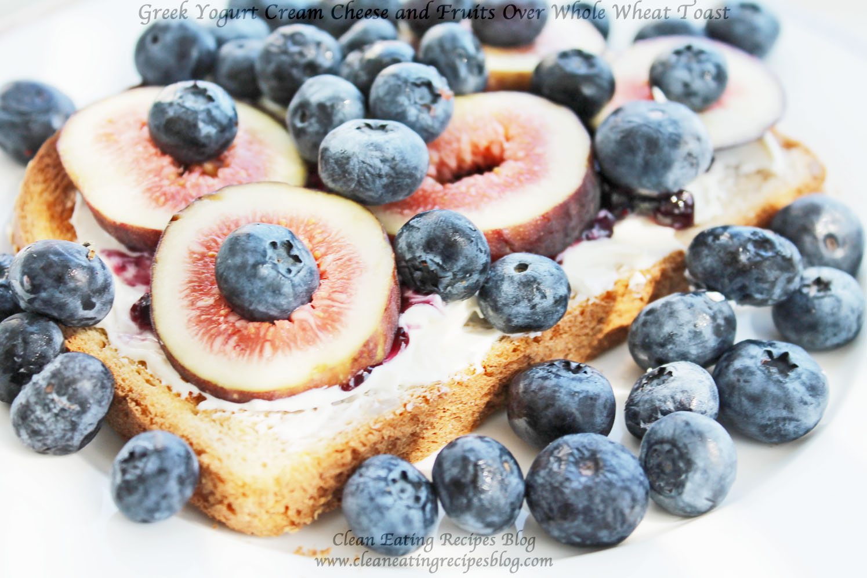 Clean Eating Breakfast – Greek Yogurt Cream Cheese and Fruits Over Whole Wheat Toast