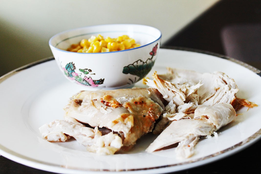 baked chicken and corn