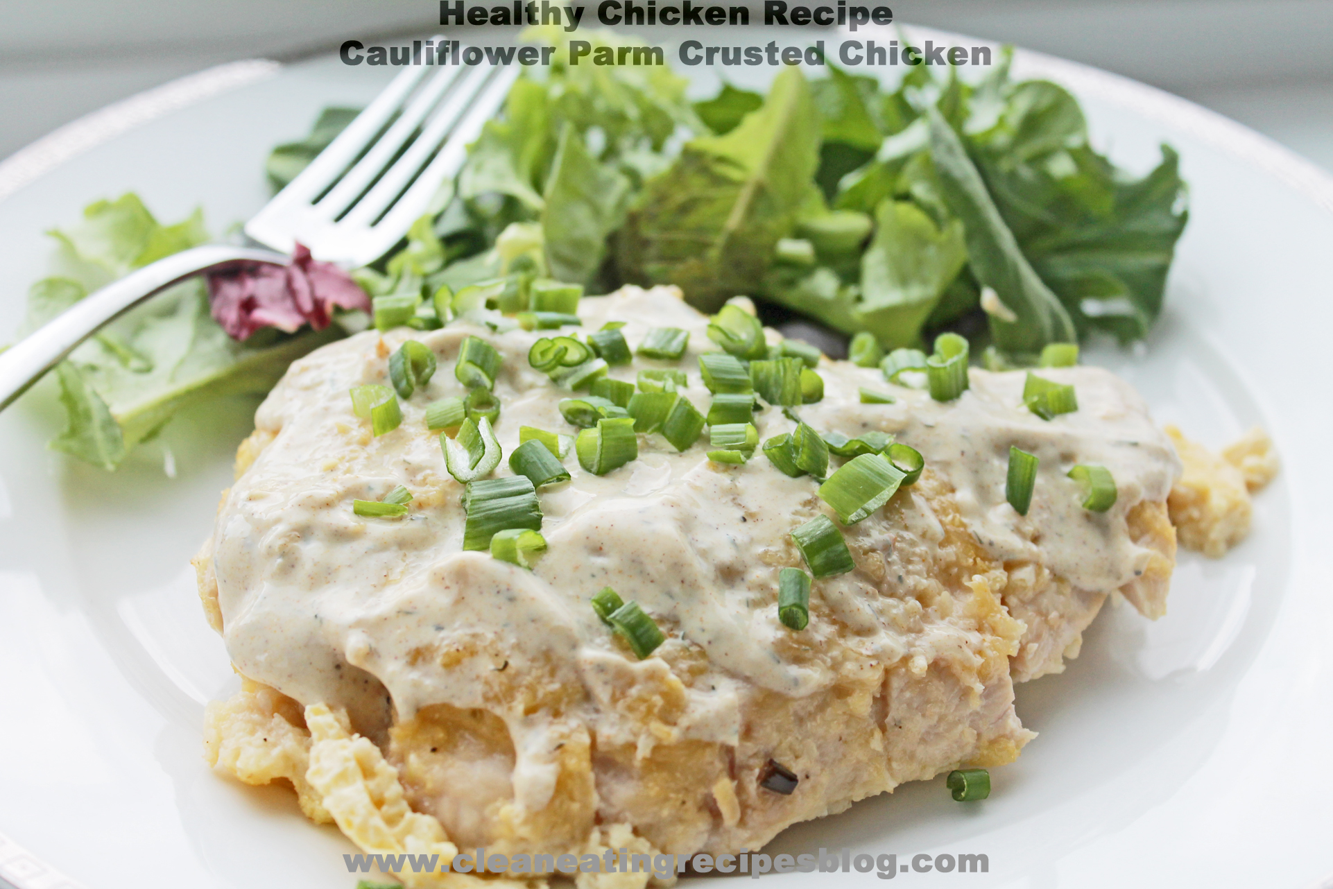 Healthy Chicken Recipe: Cauliflower and Parm Crusted Chicken with Curry Yogurt Sauce