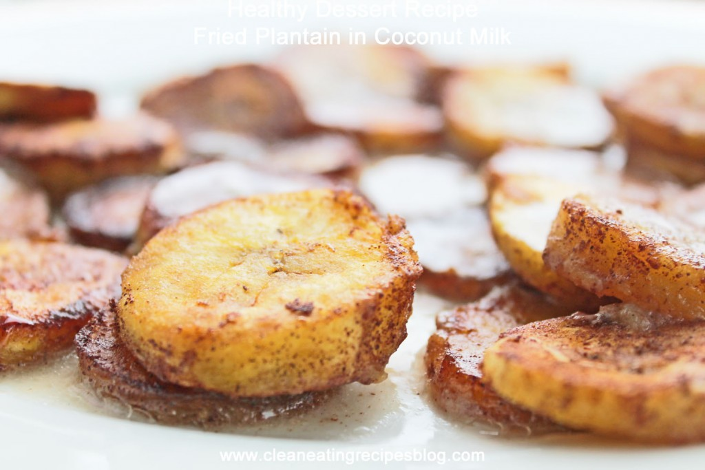 healthy dessert recipe fried plantain in coconut milk