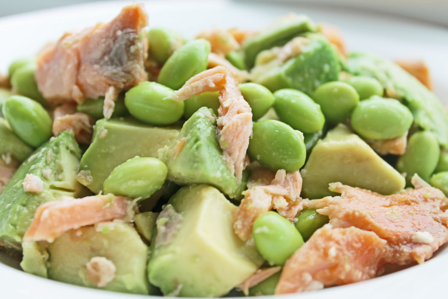 Healthy Dinner Option for Clean Eating Diet: Salmon Avocado Edamame Bowl
